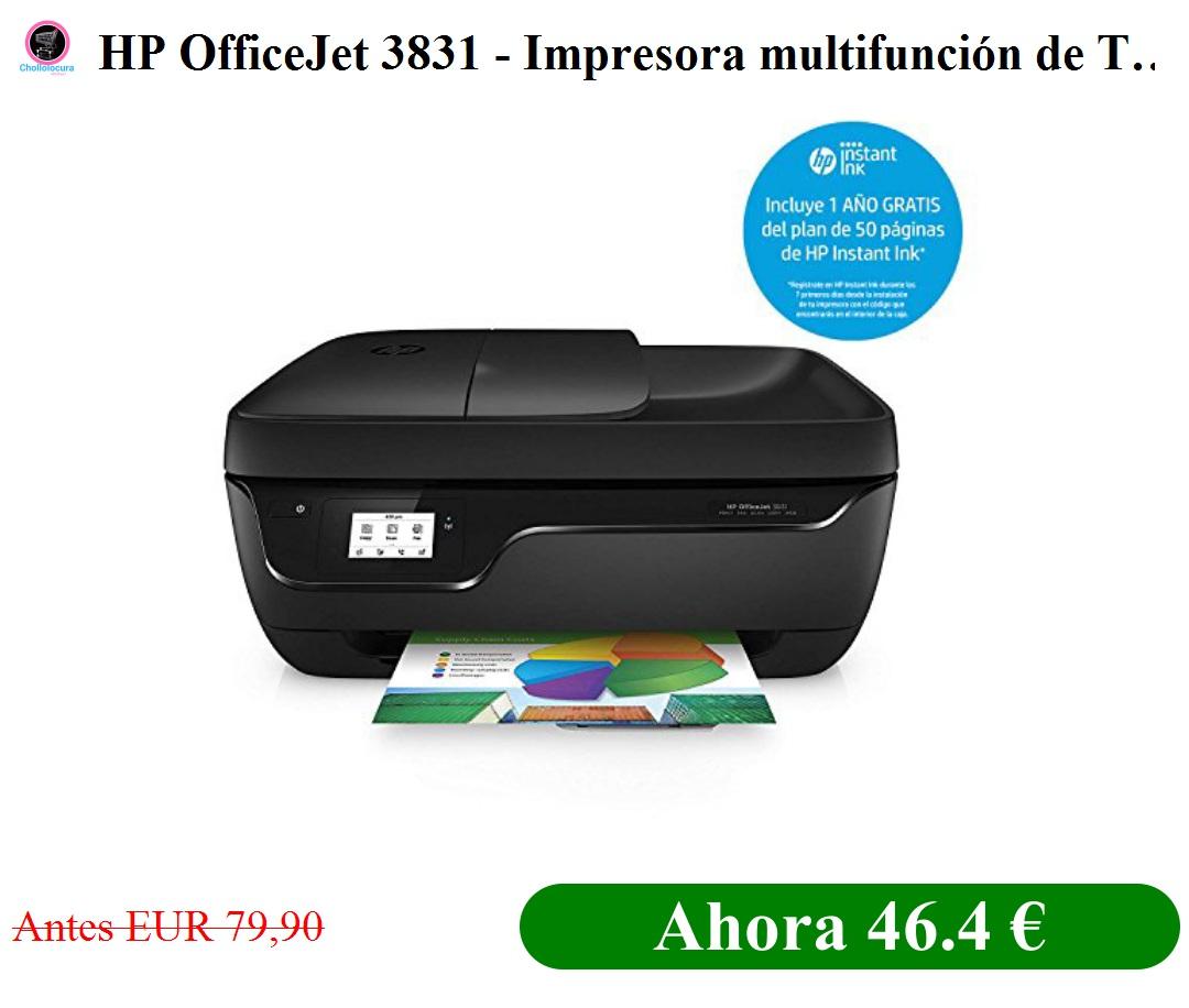 Hp Officejet 3831 Impresora Multifunción De Tinta Color Negro Wifi 512 Mb 600 X 300 Dpi 1200 X 1200 Dpi A4 216 X 297 Mm Con 1 Año Del Plan De 50